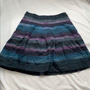 Ann Taylor Loft Blck blue purp Pleated Skirt Sz. 8